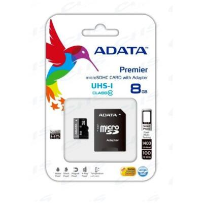 ADATA Memóriakártya MicroSDHC 8GB + Adapter UHS-I CLASS 10