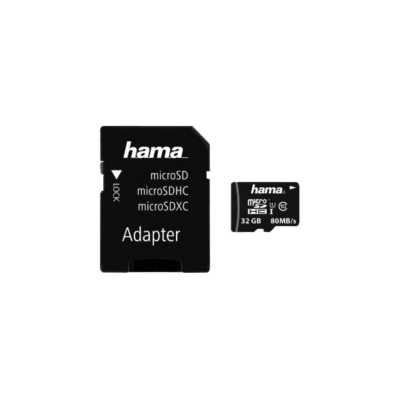 HAMA MICROSD KÁRTYA, 32GB, 80MB/S, CL10