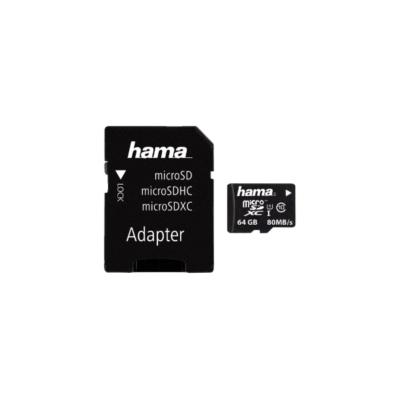 HAMA MICROSD KÁRTYA, 64GB, 80MB/S, CL10