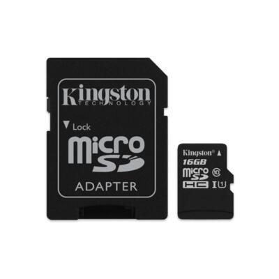 KINGSTON Memóriakártya MicroSDHC 16GB CLASS 10 UHS-I 45MB/s olvasás + Adapter