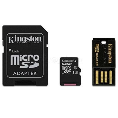 KINGSTON Memóriakártya MicroSDXC 64GB CLASS 10 + kártyaolvasó