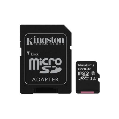 KINGSTON Memóriakártya MicroSDXC 128GB CL10 UHS-I Canvas Select (80/10) + Adapter