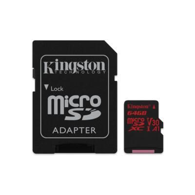 KINGSTON Memóriakártya MicroSDXC 64GB U3 UHS-I V30 A1 Canvas React (100/80) + Adapter