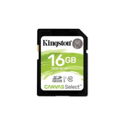 KINGSTON Memóriakártya SDHC 16GB CL10 UHS-I Canvas Select (80/10)