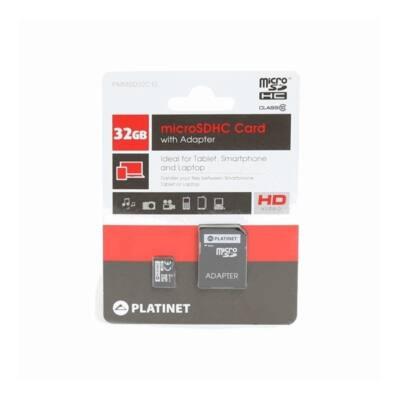 PLATINET microSDHC 32Gb SECURE DIGITAL + adapter, class 10