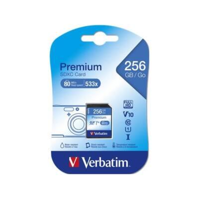 VERBATIM Memóriakártya, SDXC, 256GB, Class 10 UHS-I, 10 MB/sec