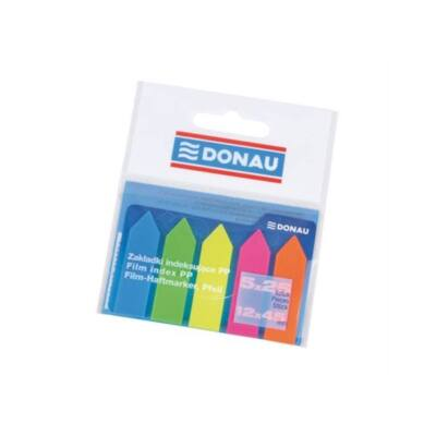 DONAU Jelölőcímke, műanyag, nyíl forma, 5x25 lap, 12x45 mm, , neon szín