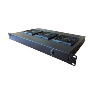 """Excel ventillátoregység 3 ventilátor+kapcsoló 19"""" 1U fekete"""