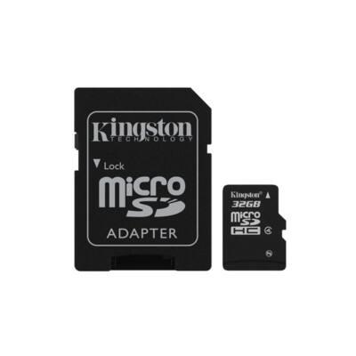 KINGSTON Memóriakártya MicroSDHC 32GB CLASS 4 + Adapter