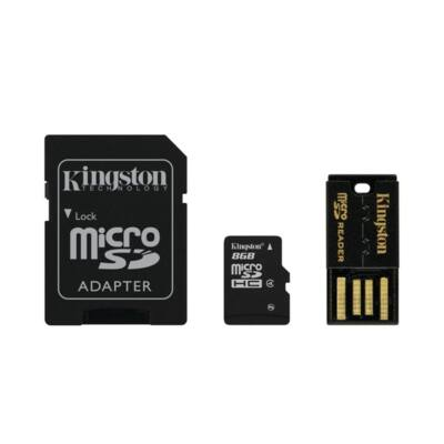 KINGSTON Memóriakártya MicroSDHC 8GB CLASS4 + Kártyaolvasó