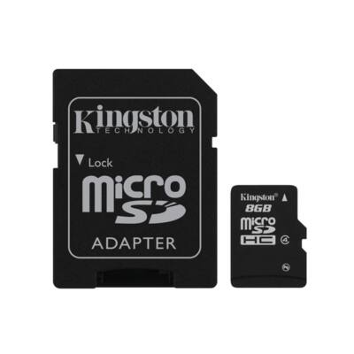 KINGSTON Memóriakártya MicroSDHC 8GB CLASS 4 + Adapter