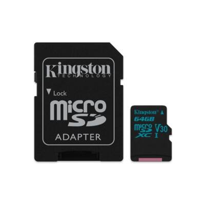 KINGSTON Memóriakártya MicroSDXC 64GB U3 UHS-I V30 Canvas Go (90/45) + Adapter