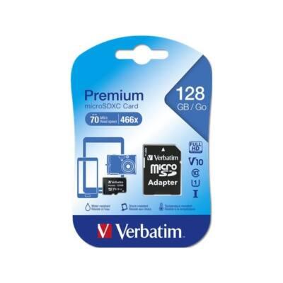 VERBATIM Memóriakártya, Micro SDXC, 128GB, Class 10, adapterrel