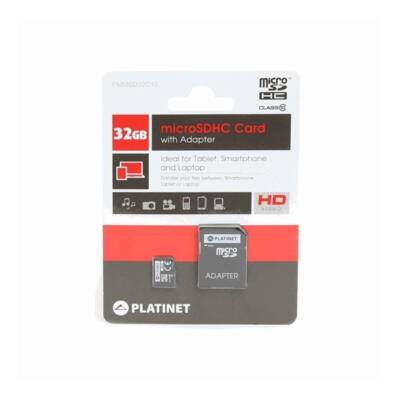 PLATINET microSDHC 32Gb SECURE DIGITAL + adapter, class 10