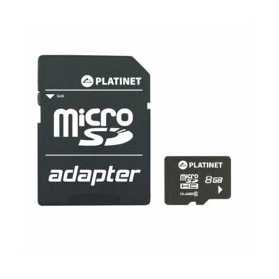 PLATINET microSDHC 8Gb SECURE DIGITAL + adapter, class 10