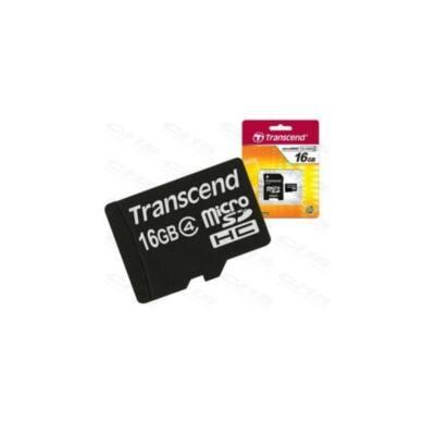 Transcend Memóriakártya MicroSDHC 16GB Class4 + adapter