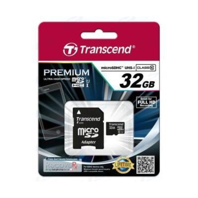 Transcend Memóriakártya MicroSDHC 32GB Class 10 UHS-I U1 + adapter