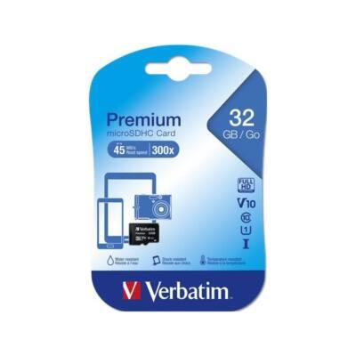 VERBATIM Memóriakártya, Micro SDHC, 32GB, Class 10