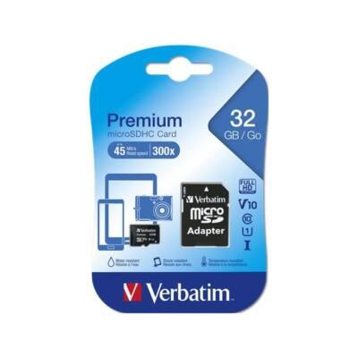 VERBATIM Memóriakártya, Micro SDHC, 32GB, Class 10, adaterrel