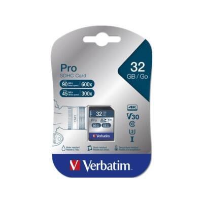 """VERBATIM """"PRO"""" Memóriakártya, SDHC, 32GB, Class 10 UHS-I, 90/45MB/sec"""