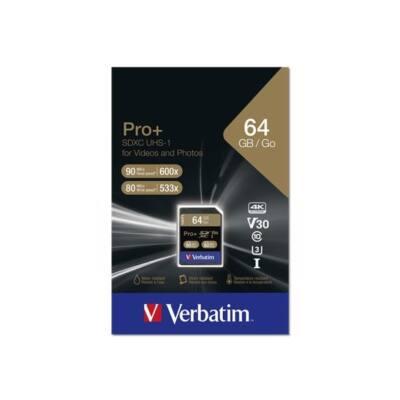 "VERBATIM ""PRO+"" Memóriakártya, SDXC, 64GB, Class 10 UHS-I, 90/80MB/sec"