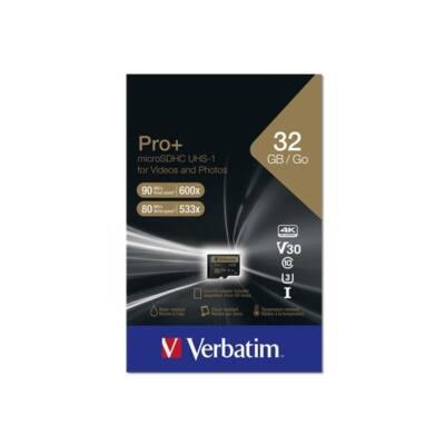 "VERBATIM ""PRO+"" Memóriakártya, microSDHC, 32GB, Class 10 UHS I, adapterrel"