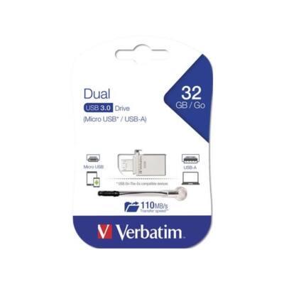 "VERBATIM Pendrive, 32GB, USB 3.0+micro USB adapter, táblagéphez, ""Micro"""